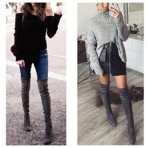 Shoes - Dark grey over the knee boots 7f6839ec5713